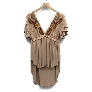 Free People Tan High Low Blouse - Size Small